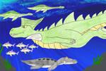 Dragonsaur underwater by Animedalek1
