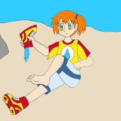 Misty pours water from her shoe by Animedalek1