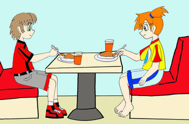 Mike and Misty eating by Animedalek1