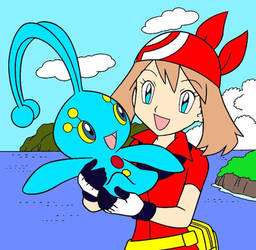 May And Manaphy Colouring Book Page