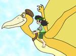 Sarah rides a Quetzalcoatlus by Animedalek1