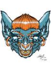 Blue/orange wolf