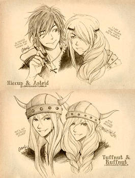 HTTYD: Hiccup and Astrid. Tuffnut and Ruffnut.