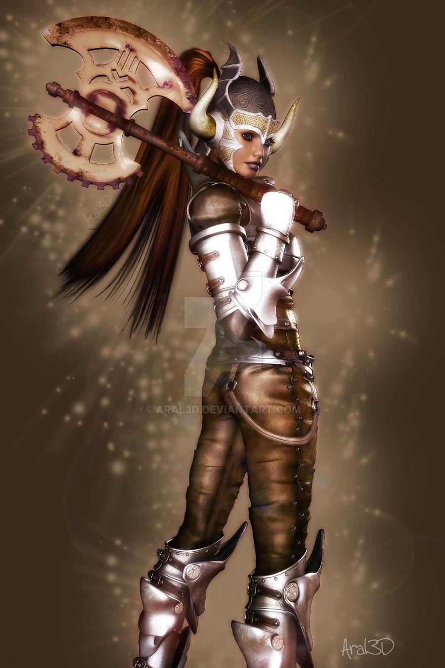 Axe warrior by Aral3D on DeviantArt