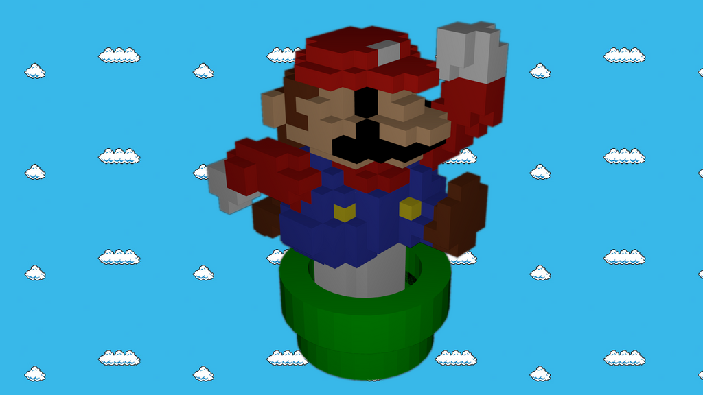 Mario 8-bit Amibo - 3D Model by rafaleluia