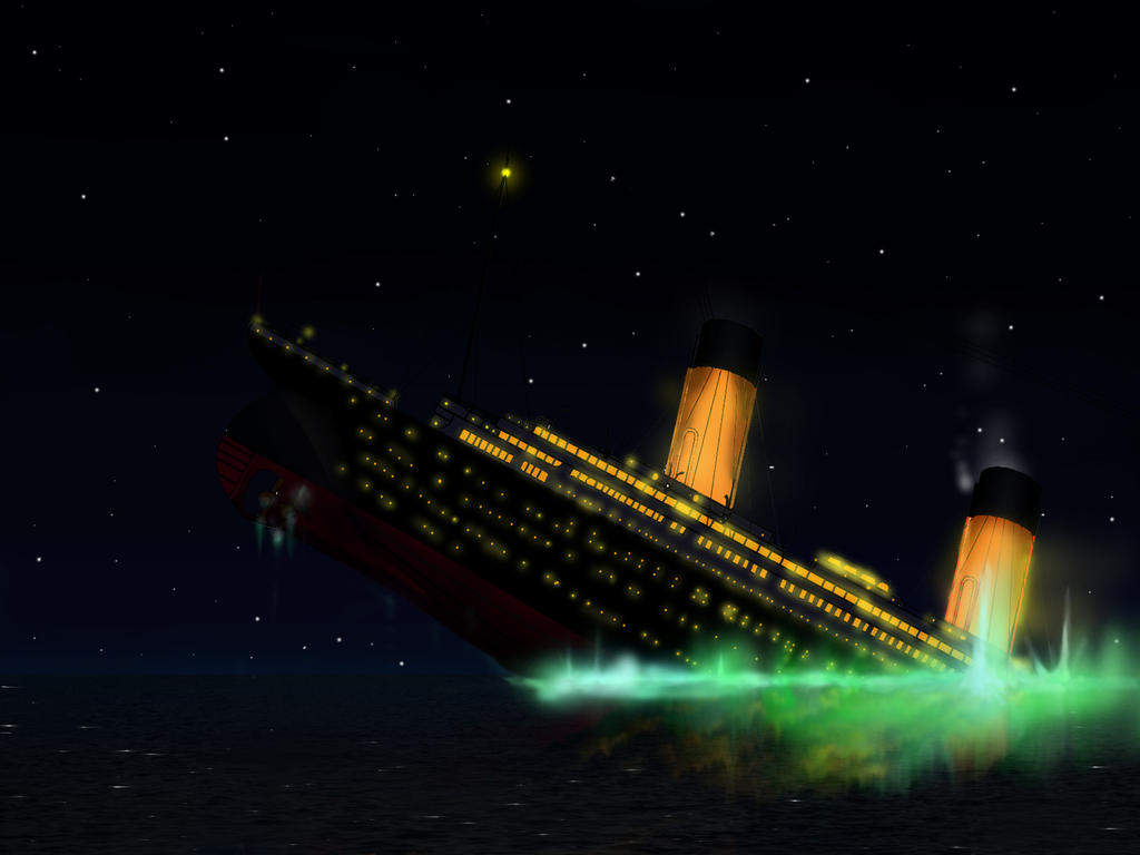 the event of the sinking of the titanic Rms titanic sank in the early morning of 15 april 1912 in the north atlantic ocean, four days into the ship's maiden voyage from southampton to new york city the largest passenger liner in service at the time, titanic had an estimated 2,224 people on board when she struck an iceberg at around 23:40.