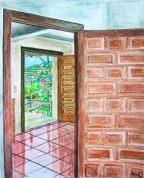 Indoor with two doors opened