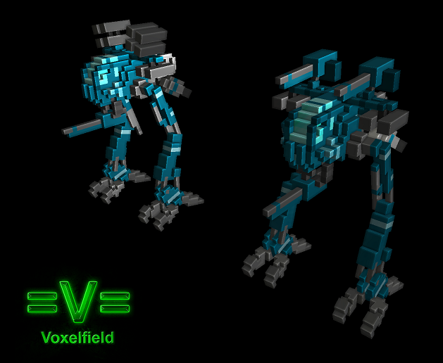 one of my random ideas for mech games Voxel_mech___skirmisher___for_voxelfield_by_laskuna-d6odcg2