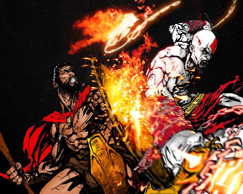 Kratos vs Leonidas in Color by Xm1911a1