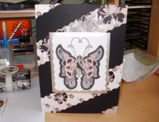 Black and Pink Butterfly card