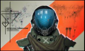 sci-fi helmet guy by Hevion