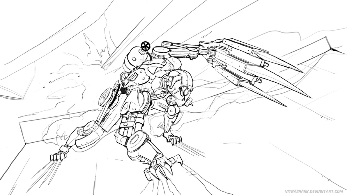 SteamPunkRobot Sketch by vitrashark