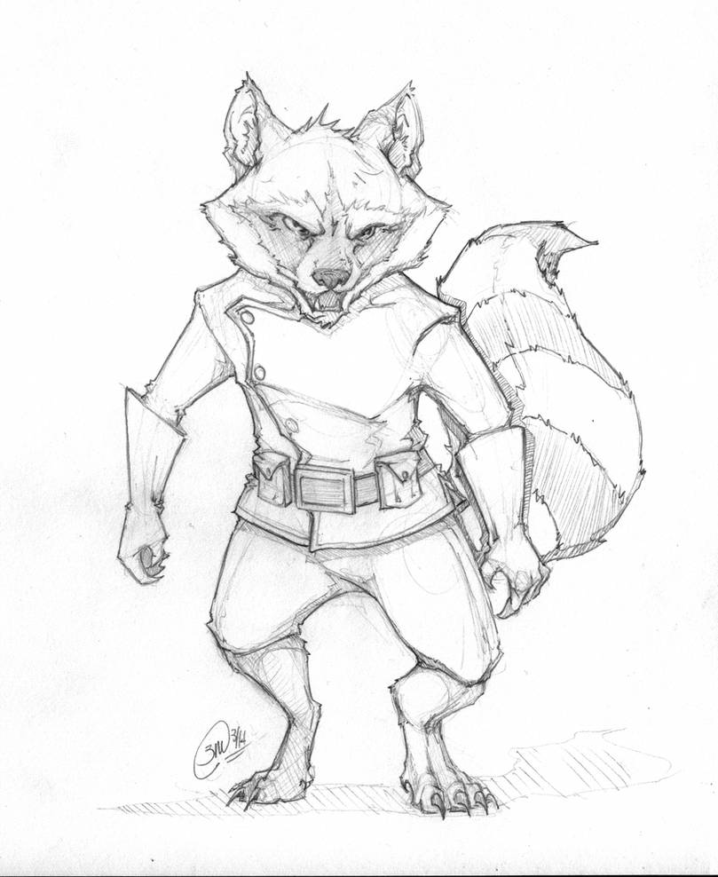 Rocket Raccoon Sketch by Megume on DeviantArt