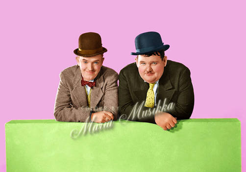 Laurel and Hardy ~~ colourised