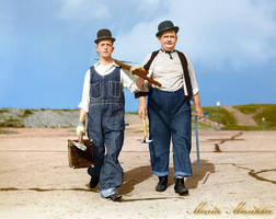 Laurel and Hardy ~~ 1928 ~~ colourised