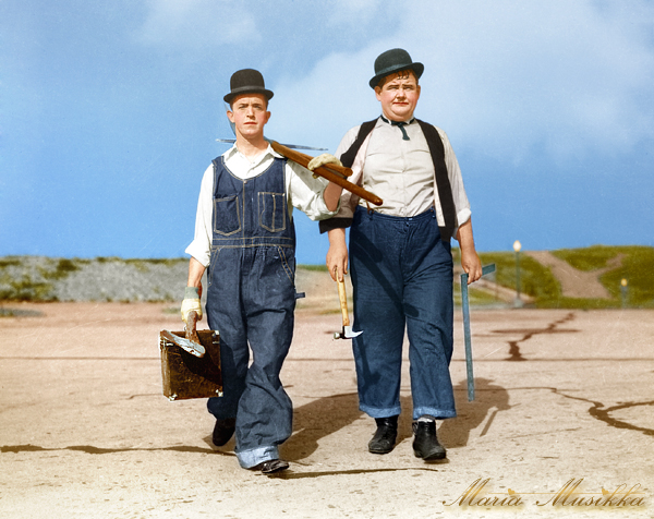 Laurel and Hardy ~~ 1928 ~~ colourised by Maria-Musikka on DeviantArt