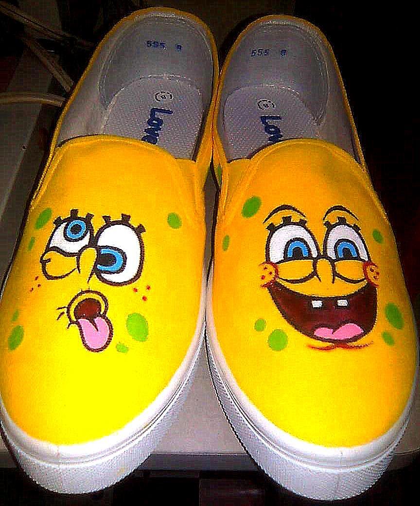 spongebob shoes by chattai on deviantart