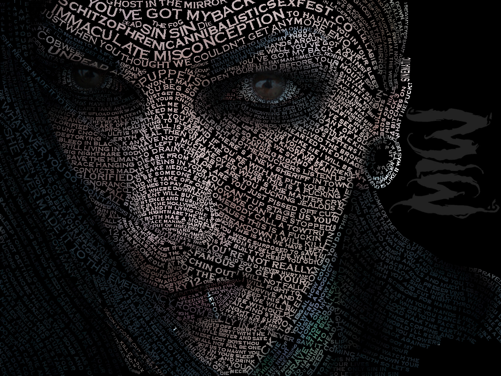 Typographic portrait of chris motionless by Typography portrait
