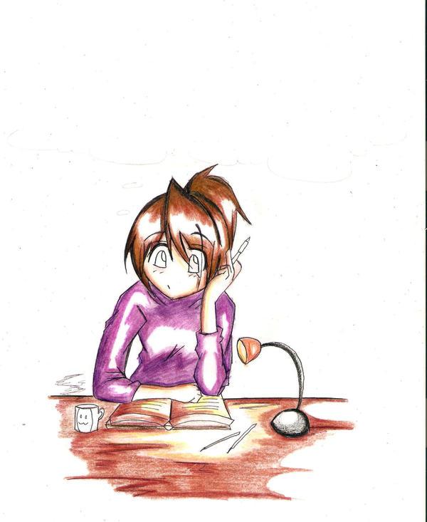Anime Studying: Anime Girl Studying... By UltimateNico10 On DeviantArt