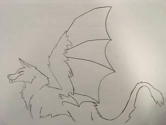 Dragowolf lineart by Alexadragonfire
