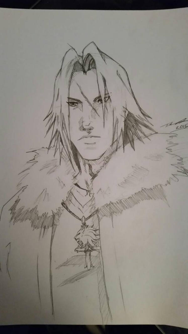 Squall Leonheart Kingdom Hearts variation  sketch by fenrirthomasb