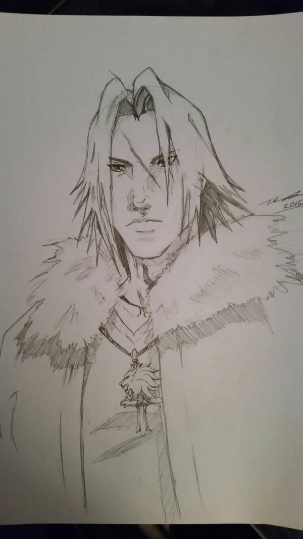 Squall Leonheart Kingdom Hearts variation  sketch by fenrirthomasb