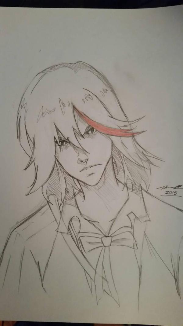 Ryuko Matoi Kill-la-Kill sketch  by fenrirthomasb