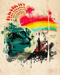 One Cat, Fruit, Clock- Pop Art by Lady-Honey