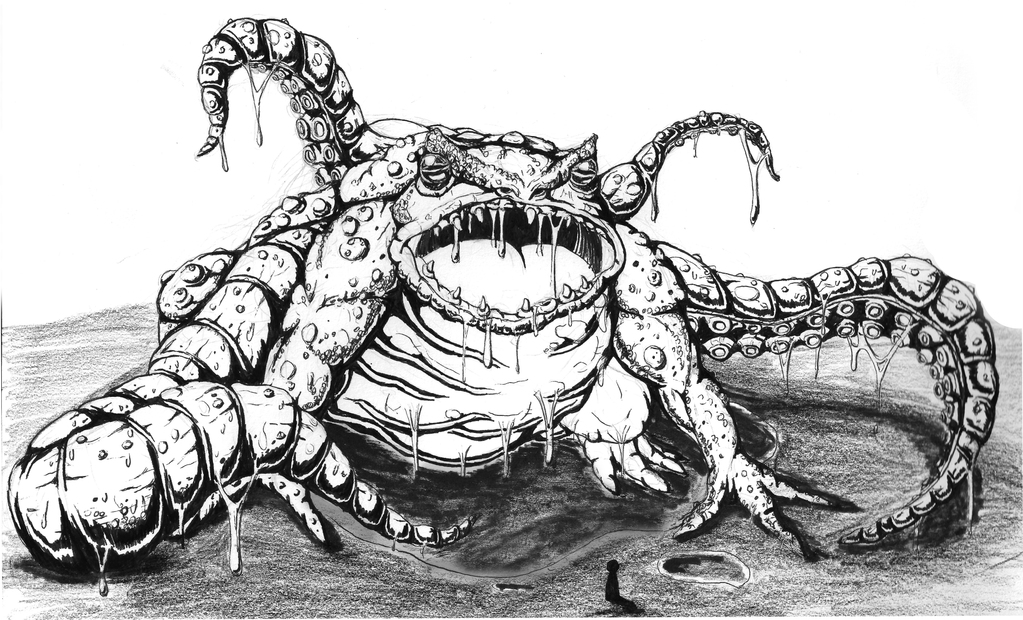 Giant toadmonster with tentacles by Jera0
