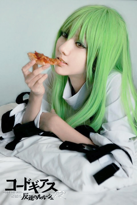 C.C with pizza by meiji0805