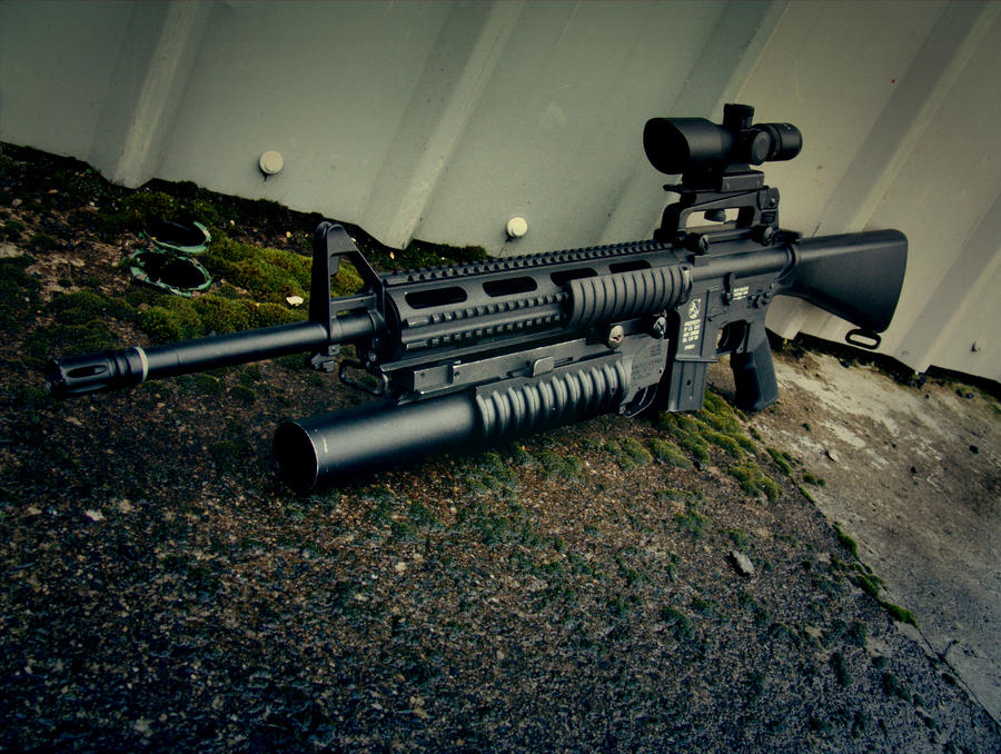 M16 with M203 b...
