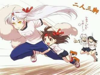 sesshomaru and rin running by vania0