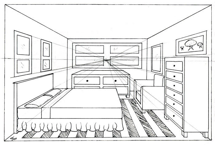 one point perspective living room drawing bedroom 1 point by madhavi on deviantart 26540