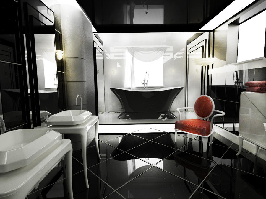 Modern art deco bathroom by amedeah on deviantart for Art nouveau bathroom design