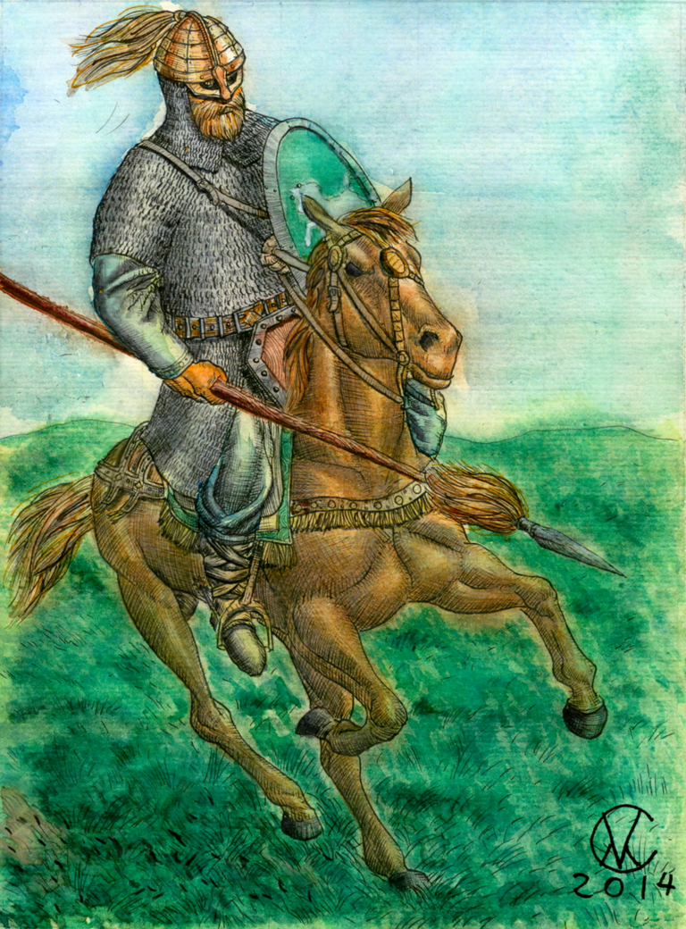 Rohirrim - Watercolors and markers by mentat0209
