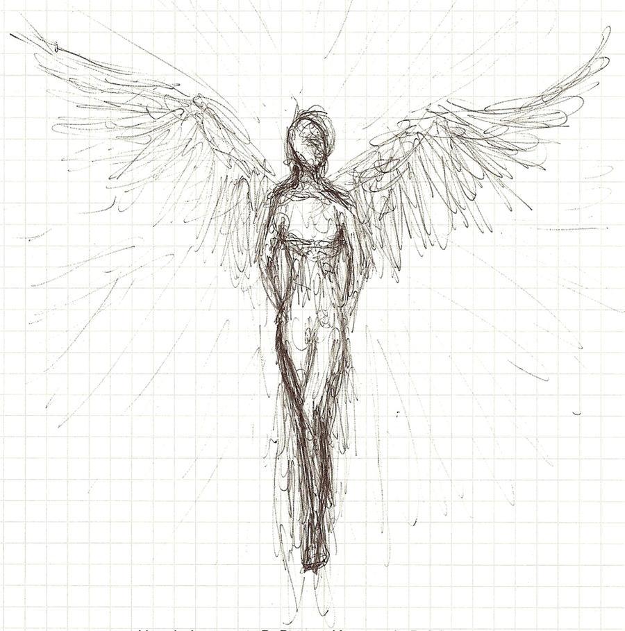 Angel Sketch Tattoo
