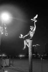 Galveston statue with gulls in b/w