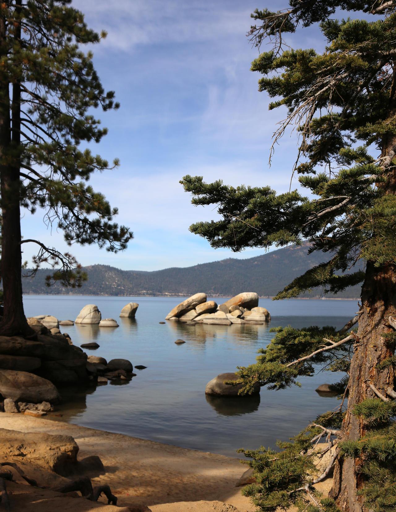 Lake Tahoe framed boulders