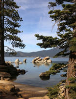 Lake Tahoe framed boulders