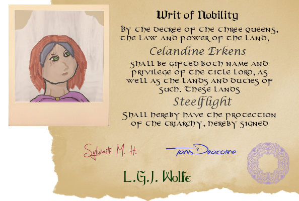 Celandine Erkens Old Writ of Nobility by GrayGriffin