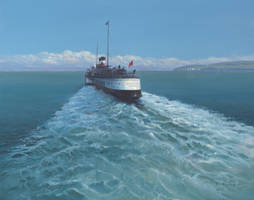 Old Harry Rocks with Paddle Steamer by Pictonart
