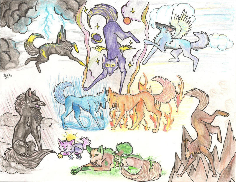 Elemental Wolves by mysticspiritwolf on DeviantArt