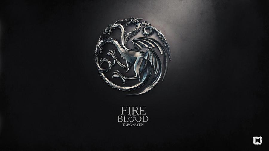 Gra o Tron tapeta autorstwa Melaamory z trójgłowym smokiem rodu Targaryenów oraz ich zawołaniem Fire and Blood