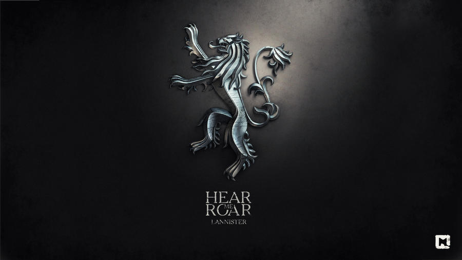 Gra o Tron tapeta autorstwa Melaamory z lwem Lannisterów i zawołaniem rodowym Hear me Roar