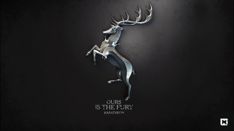 Gra o Tron tapeta autorstwa Melaamory z jeleniem Baratheonów oraz zawołaniem Ours is the Fury
