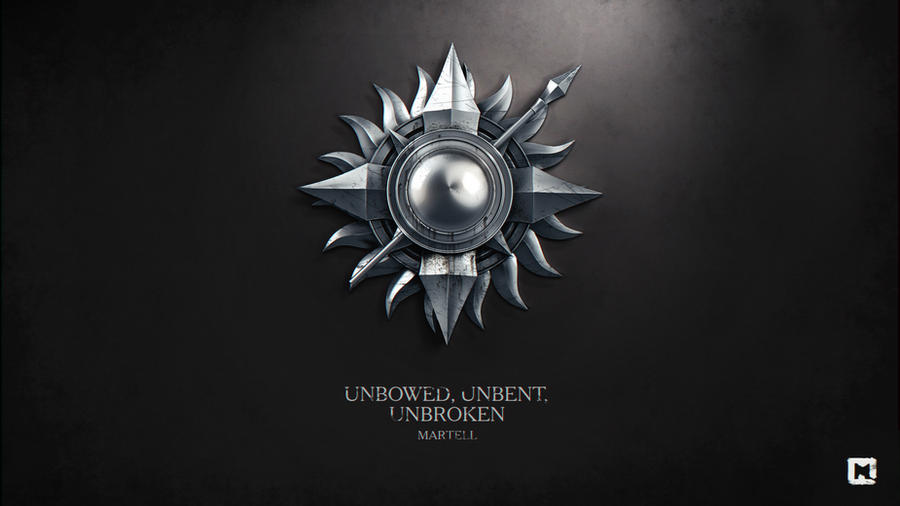 Gra o Tron tapeta autorstwa Melaamory z symbolem rodu Martellów, włócznią oraz słońcem, oraz zawołaniem Unbowed, Unbent, Unbroken