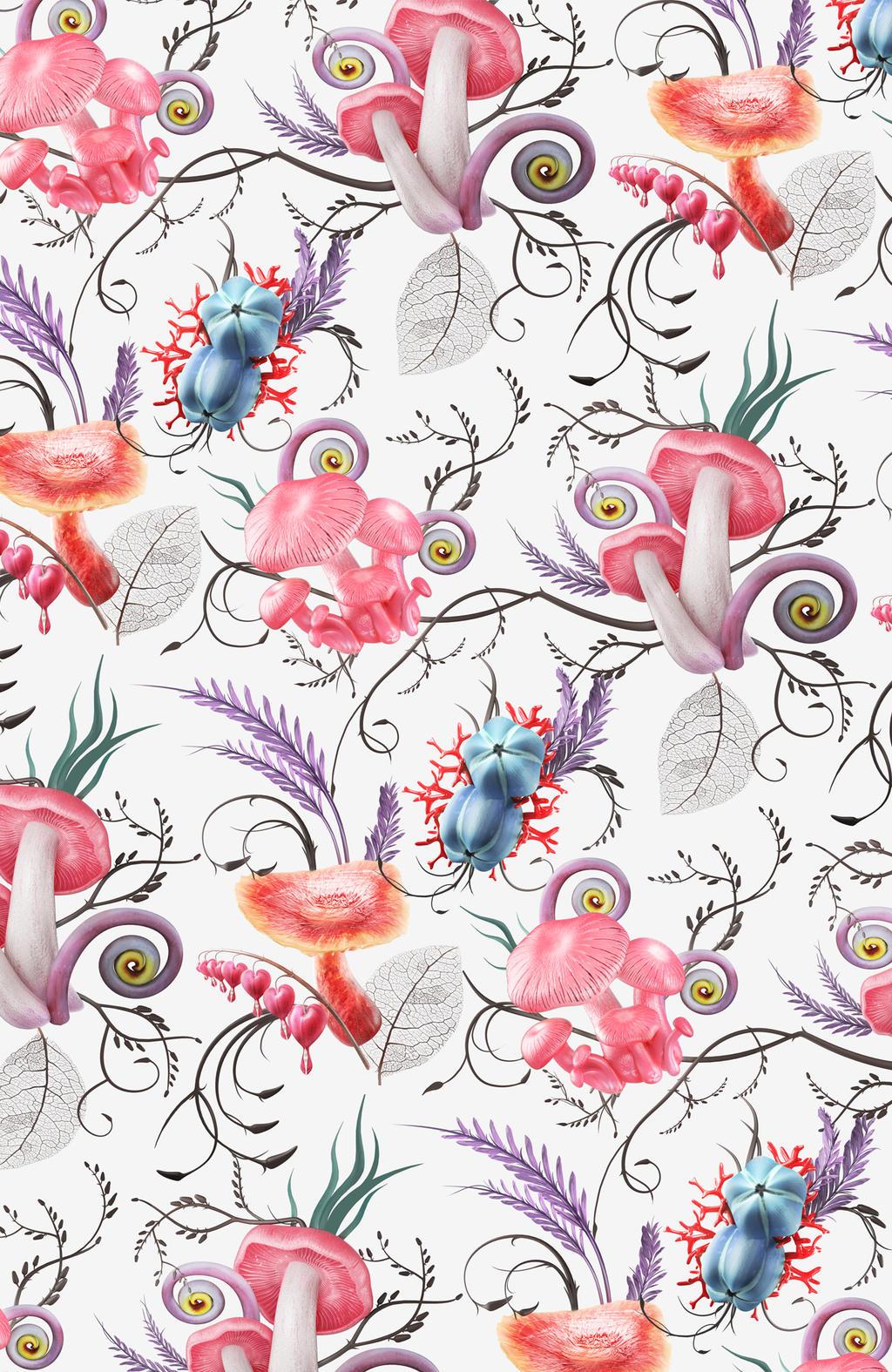 Mushroom pattern 2 by Melaamory
