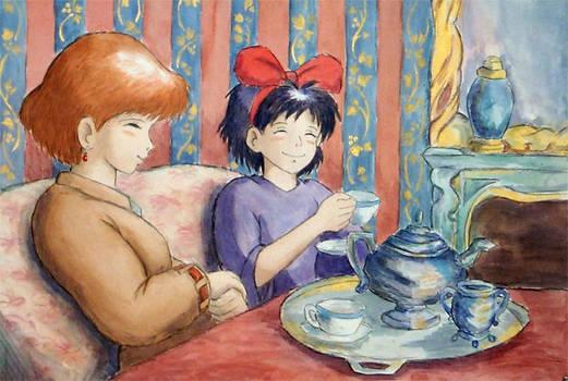 nausicaa and kiki have tea