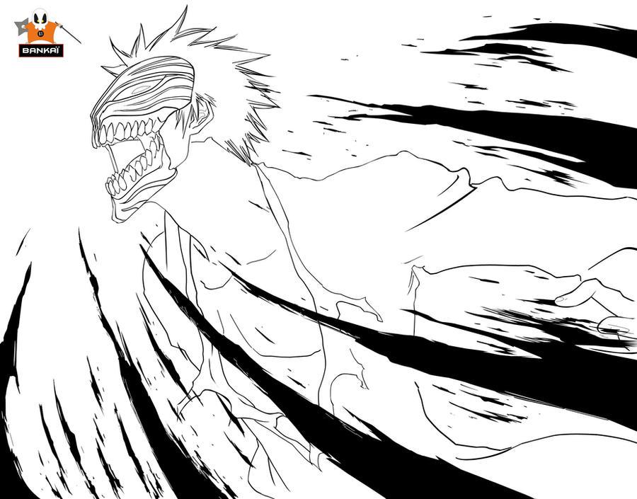 ichigo coloring pages - lineart ichigo 344 bankai13 by bankai no jutsu on deviantart