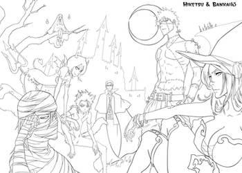 Halloween celebration Lineart by Bankai-no-jutsu